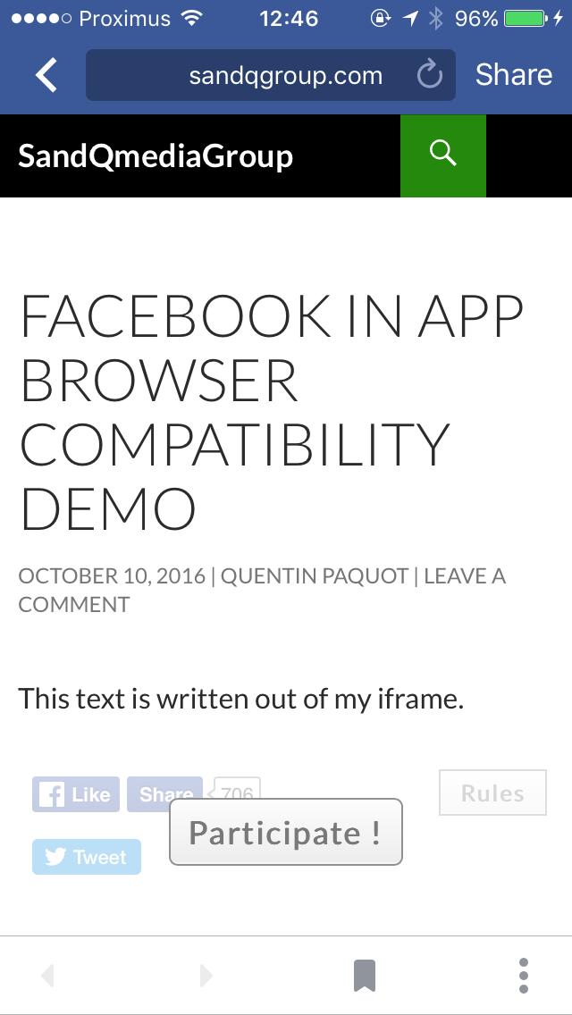 Facebook login in app browser